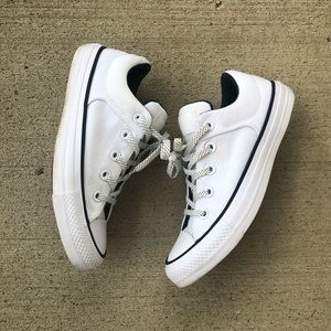 White with navy low top converse sneakers